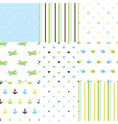 Set of baby boy seamless patterns vector