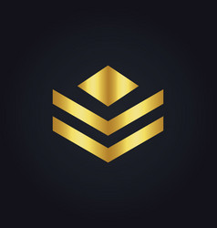 Shape polygon business gold logo vector