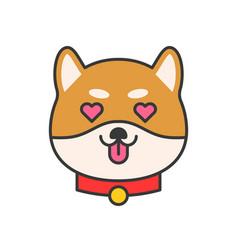 shiba inu emoticon filled outline design vector image