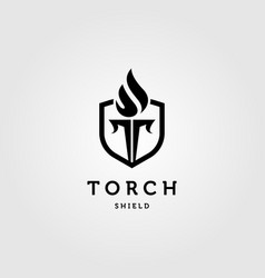 shield and torch letter t symbol logo design vector image