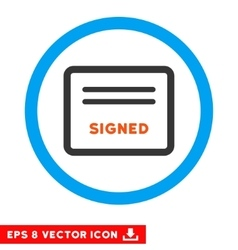 Signed Agreement Document Eps Rounded Icon vector