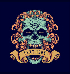 skull ornament with banner vector image
