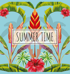 slogan summer time leaves and flowers blue vector image