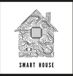 smart house concept circuit home and cpu vector image