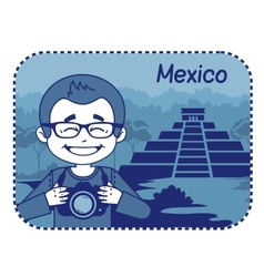 Teaser with photographer travels through Mexico vector image