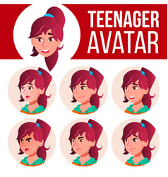 teen girl avatar set face emotions user vector image