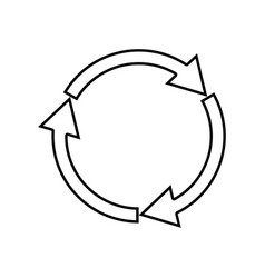 Three circle arrows it is black icon vector