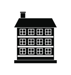 three-storey house black simple icon vector image
