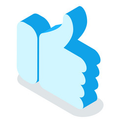 thumb up or hand gesture isolated web emoticon vector image