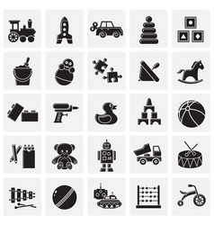 toys icons set on squares background for graphic vector image