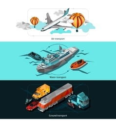 Transport Low Poly Banners vector image