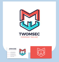 two letter m shield logo icon design template vector image
