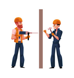two workers in helmets overalls drilling the wall vector image