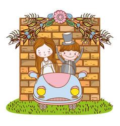 wedding couple on car cute cartoon vector image