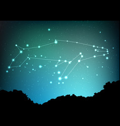 Whale constellation art sea whale in vector
