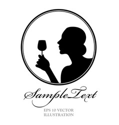 Woman silhouette holding a glass of wine good for vector