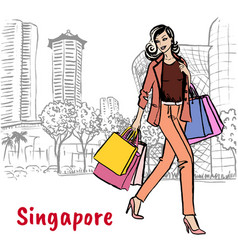 woman with shopping bags on orchard road vector image