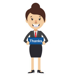 woman with thanks sign on white background vector image