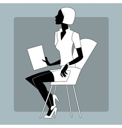 Young woman at a briefing paper sheet vector