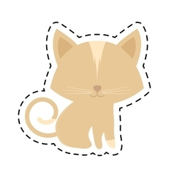cat animal domestic furry cut line vector image vector image