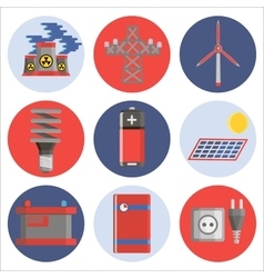 Energy generating systems flat icons set vector image