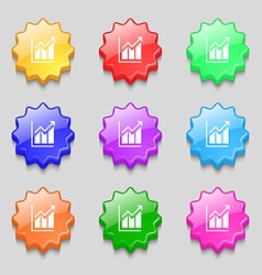 Growing bar chart icon sign symbol on nine wavy vector image