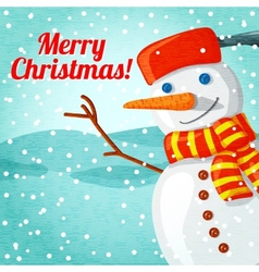 Merry Christmas greeting card with cute snowman vector image