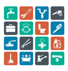 Silhouette plumbing objects and tools icons vector image