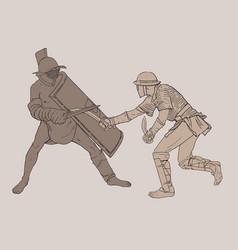 two battling gladiators vector image vector image