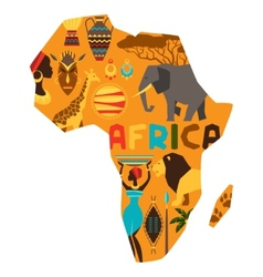 African ethnic background with of map vector image