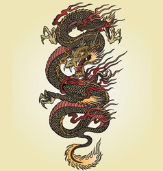 full color asian dragon tattoo vector image vector image