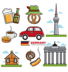 german traditional symbols colorful set on vector image vector image