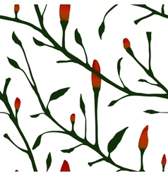 Red Chilli Pepper Plant Seamless Pattern vector image vector image