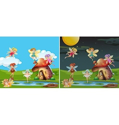 Two scenes with fairies at day and night vector image