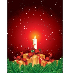 christmas gift packages with candle and pine leave vector image vector image