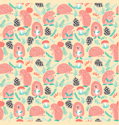 cute background with hedgehog forest set vector image