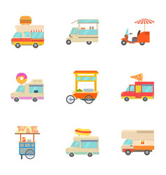 different food truck icons set cartoon style vector image