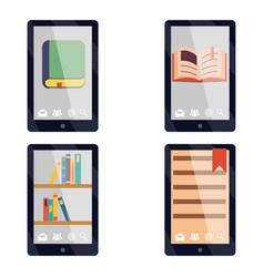 e-book reader e-reader flat icons and symbols set vector image