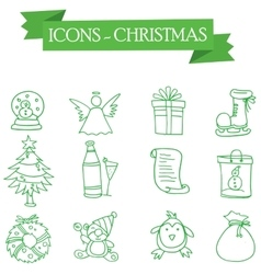 Icon merry christmas element set vector