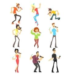 People Singing Karaoke Set vector image
