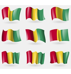 Set of Guinea flags in the air vector image