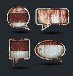 speech bubble icons grunge metal background vector image vector image