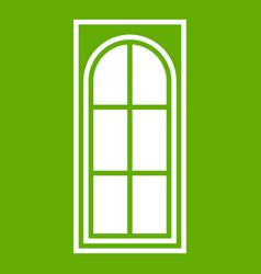 wooden door with glass icon green vector image vector image