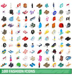 100 fashion icons set isometric 3d style vector image