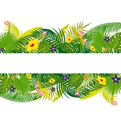 empty banner with tropical floral foliage vector image vector image