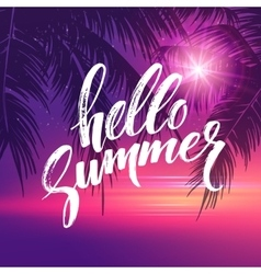 Hello summer background Tropical palm leaves vector image