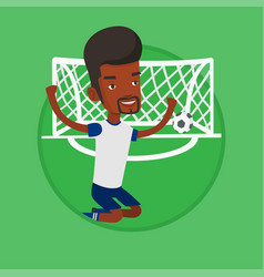soccer player celebrating scoring goal vector image