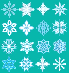 16 snowflakes vector