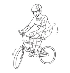 A boy riding a bicycle for coloring page vector image