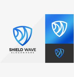 abstract shield wave logo design modern logo vector image